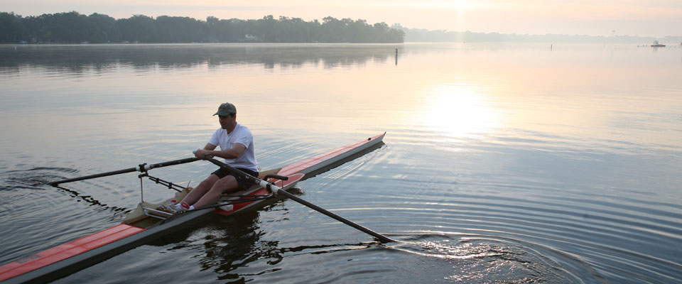 Rowing on the lake in Crystal Lake, IL